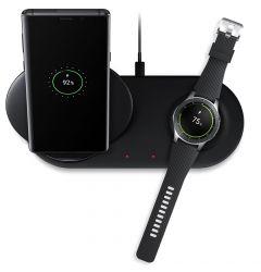 Incarcator Fast Charging Wireless Samsung Duo Black (Stand + Pad)