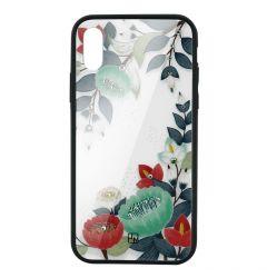 Carcasa Sticla iPhone XS Max Just Must Glass Diamond Print Orange & Green Flowers