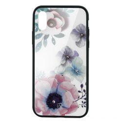 Carcasa Sticla iPhone XS Max Just Must Glass Diamond Print Flowers White Backgound
