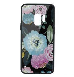 Carcasa Sticla Samsung Galaxy S9 G960 Just Must Glass Diamond Print Flowers Black Background