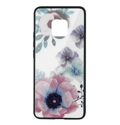 Carcasa Sticla Huawei Mate 20 Pro Just Must Glass Diamond Print Flowers White Backgound