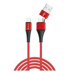 Cablu Devia Storm USB sau Type-c la Lightning Red
