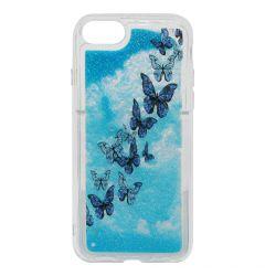 Carcasa iPhone SE 2020 / 8 / 7 Lemontti Liquid Sand Butterflies Glitter
