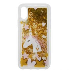 Carcasa iPhone XS / X Lemontti Liquid Sand Unicorn Glitter