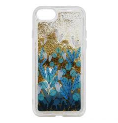 Carcasa iPhone SE 2020 / 8 / 7 Lemontti Liquid Sand Blue Flowers
