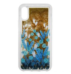 Carcasa iPhone XS / X Lemontti Liquid Sand Blue Flowers