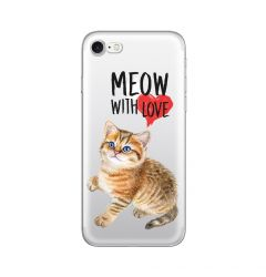 Husa iPhone SE 2020 / 8 / 7 Lemontti Silicon Art Meow With Love