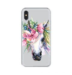 Husa iPhone XS / X Lemontti Silicon Art Watercolor Unicorn