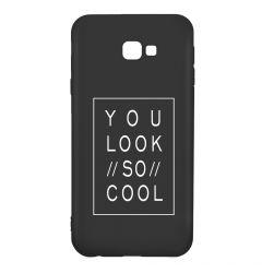 Husa Samsung Galaxy J4 Plus Lemontti Silicon Black Silky Art You Look So Cool White