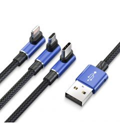 Cablu MicroUSB, Lightning si Type-C Baseus MVP Game USB 3 in 1 Blue (1.2m, output 3.5A, impletitura