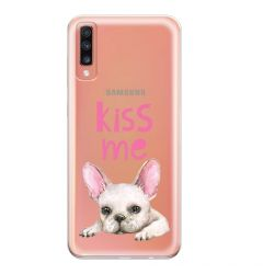 Husa Samsung Galaxy A70 Lemontti Silicon Art Pug Kiss