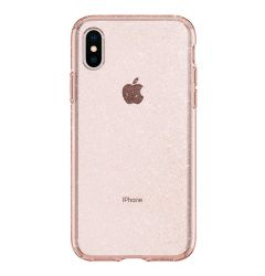 Husa iPhone XS / X Spigen Liquid Crystal Glitter Rose Quartz