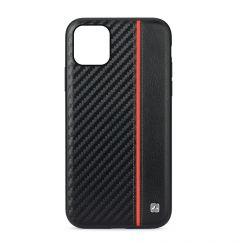 Husa iPhone 11 Pro Meleovo Carbon Black & Red (placuta metalica integrata)