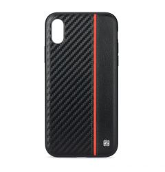 Husa iPhone XS / X Meleovo Carbon Black & Red (placuta metalica integrata)