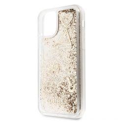 Husa iPhone 11 Guess Colectia Hearts Glitter Auriu