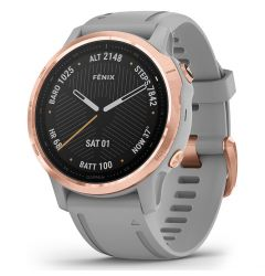 Smartwatch Garmin Fenix 6S Pro Sapphire Rose Gold cu Powder Grey Band (42mm, wi-fi, glass)