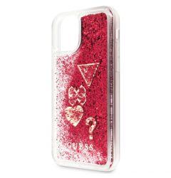 Husa iPhone 11 Pro Max Guess Colectia Hearts Glitter Rosu