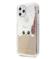 Husa iPhone 11 Pro Max Karl Lagerfeld Colectia Peek a Boo Glitter Roz Auriu