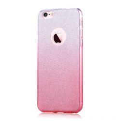 Husa iPhone 6/6S Devia Silicon Sparkling Pink (cu folie spate glitter detasabila)
