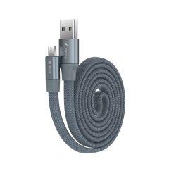 Cablu MicroUSB Devia Ring Gray (0.8m, impletitura nylon, 2.4A)