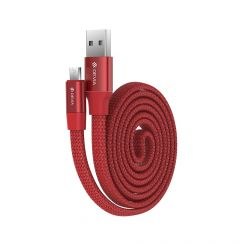 Cablu MicroUSB Devia Ring Red (0.8m, impletitura nylon, 2.4A)
