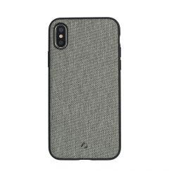 Carcasa iPhone X Occa Linen Car Gray (margini flexibile, material textil, placuta metalica integrata