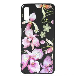 Husa Samsung Galaxy A7 (2018) Just Must Silicon Printed Embroidery Pink Flowers