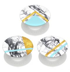 Suport Popsockets PopMinis Stand Adeziv White Marble Glam (contine 3 mini accesorii)