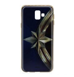 Husa Samsung Galaxy J6 Plus Marvel Silicon Captain Marvel 001 Gold