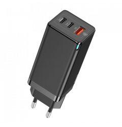 Incarcator Retea Baseus 3 Ports GaN Quick Travel Charger Plug EU Black