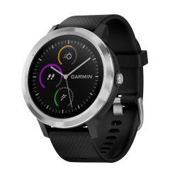 Smartwatch Garmin Vivoactive 3 HR, GPS, Silver, Silicone Black resigilat