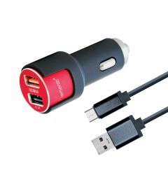 Incarcator Auto MicroUSB Lemontti Qualcomm 3.0 Dual USB Negru-Rosu 3.1A (cablu detasabil) resigilat