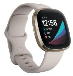 Smartwatch Fitbit Sense Lunar White / Soft Gold Stainless Steel