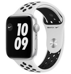 Watch Original Apple Nike SE GPS 44mm Silver Aluminium Case Pure Platinum/Black Nike Sport Band