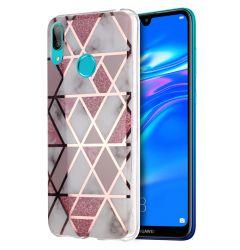 Husa Huawei Y7 2019 Lemontti Plating Marble Pattern Soft Pink