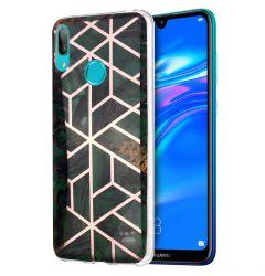Husa Huawei Y7 2019 Lemontti Plating Marble Pattern Soft Green