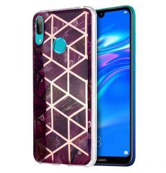 Husa Huawei Y7 2019 Lemontti Plating Marble Pattern Soft Purple