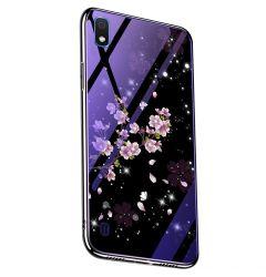 Husa Samsung Galaxy A30 Lemontti Electroplated Edge Blue Light Glass Peach Blossoms