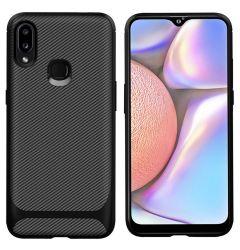 Husa Samsung Galaxy A20 / A30 Lemontti Carbon Fiber Texture Shockproof Black