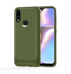 Husa Samsung Galaxy A20 / A30 Lemontti Carbon Fiber Texture Shockproof Green