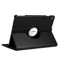 Husa Huawei MediaPad T5 Tableta Huawei MediaPad T5 10.1 inch Lemontti Litchi Flip Leather Case Black