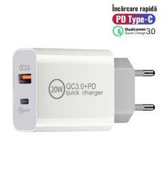 Incarcator Retea Lemontti PD Type-C + USB Quick Charge 20W 3.4A max Alb