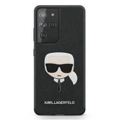 Husa Samsung Galaxy S21 Ultra G998 Karl Lagerfeld Saffiano Ikonik Karl's Head Negru