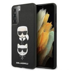 Husa Samsung Galaxy S21 Plus G996 Karl Lagerfeld Saffiano Ikonik Karl&Choupette Head Negru