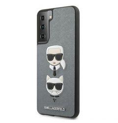 Husa Samsung Galaxy S21 Plus G996 Karl Lagerfeld Saffiano Ikonik Karl&Choupette Head Argintiu