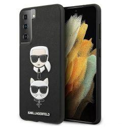 Husa Samsung Galaxy S21 G991 Karl Lagerfeld Saffiano Ikonik Karl&Choupette Head Negru