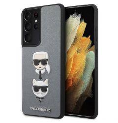 Husa Samsung Galaxy S21 G991 Karl Lagerfeld Saffiano Ikonik Karl&Choupette Head Argintiu