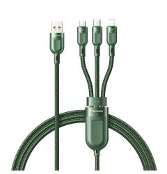 Cablu 3 in 1 Lightning & MicroUSB & Type-C Mcdodo Super Fast Charging Green (5A, 1.2m)