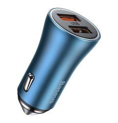 Incarcator Auto Baseus Golden Contactor Pro Dual Quick Charger Blue