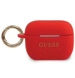Husa Airpods Pro Guess Silicon Glitter Rosu